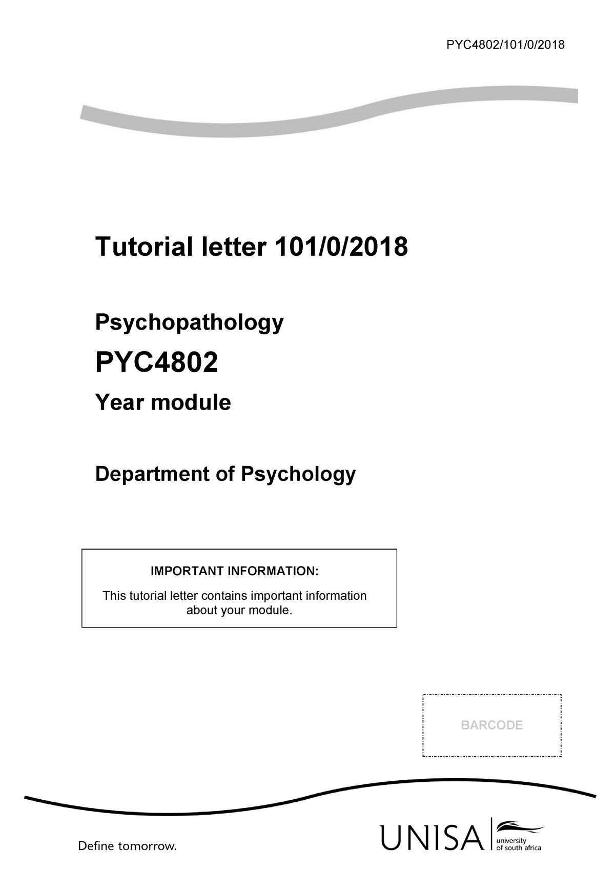 101 2018 0 b - TUTORIAL LETTER - PYC4802: Psychopathology - StuDocu