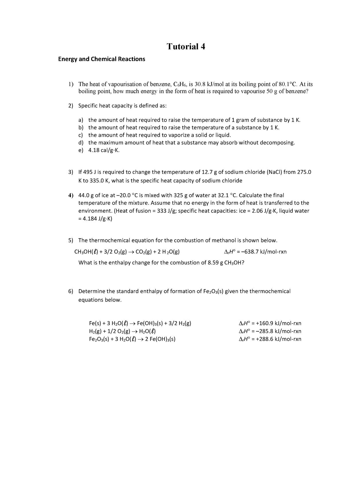 Tutorial 4 - CH101: Chemistry - StuDocu