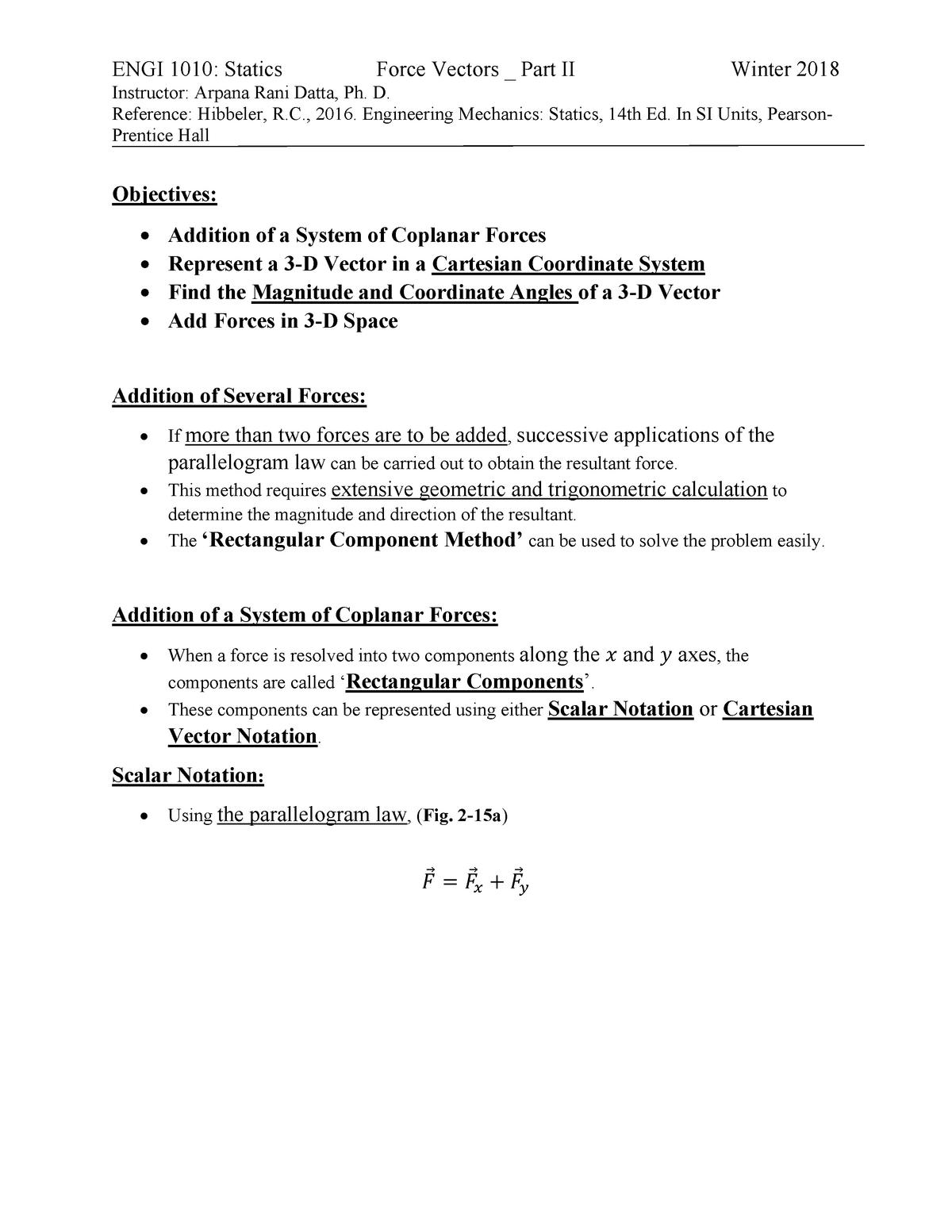 Force Vectors Part II - Engi 1010 Engineering Statics - StuDocu
