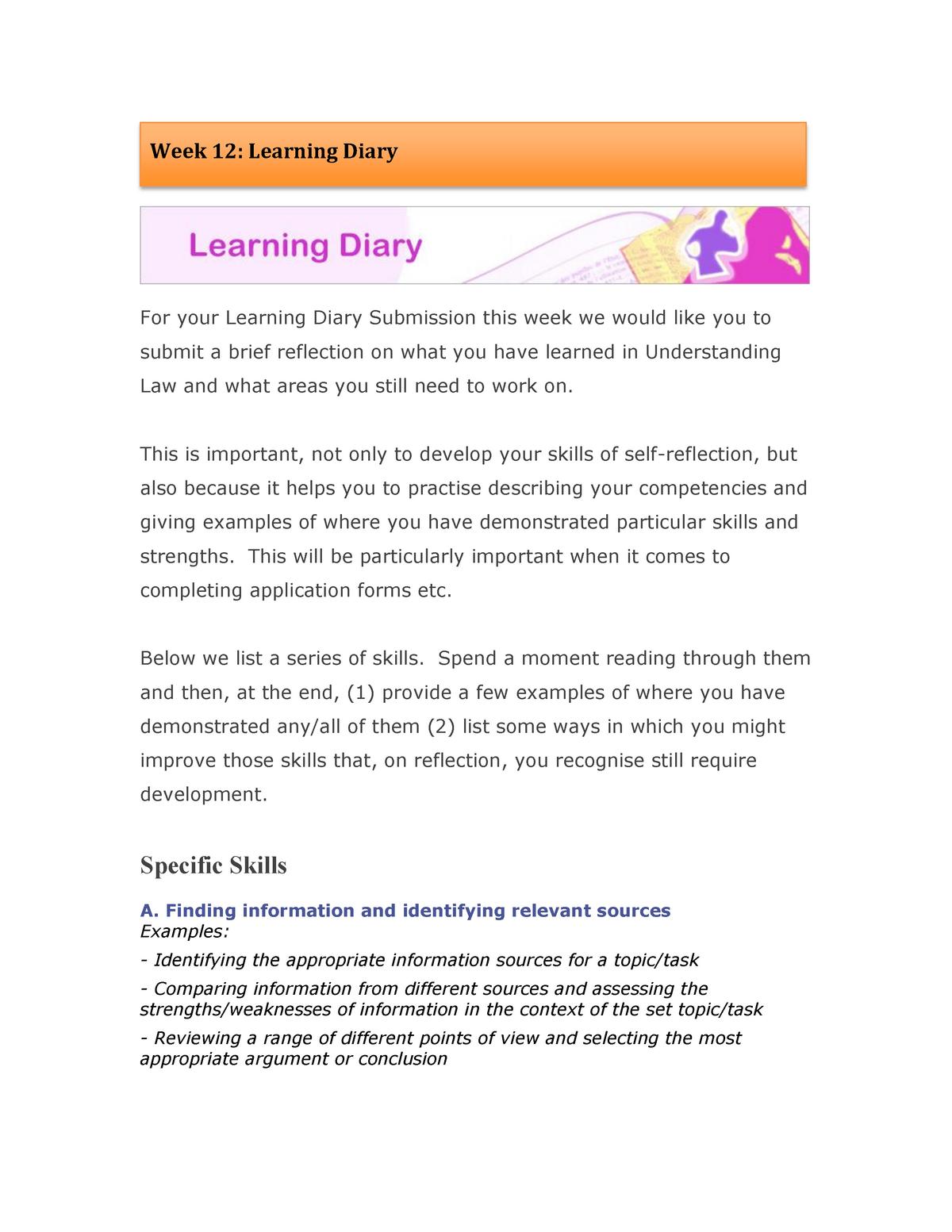 Week 12 Learning Diary - 15013319: FB V: FFA anglo
