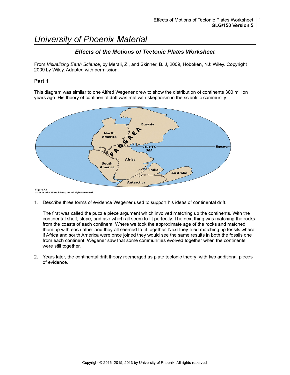 Continental Drift Worksheet / Evidence For Continental ...