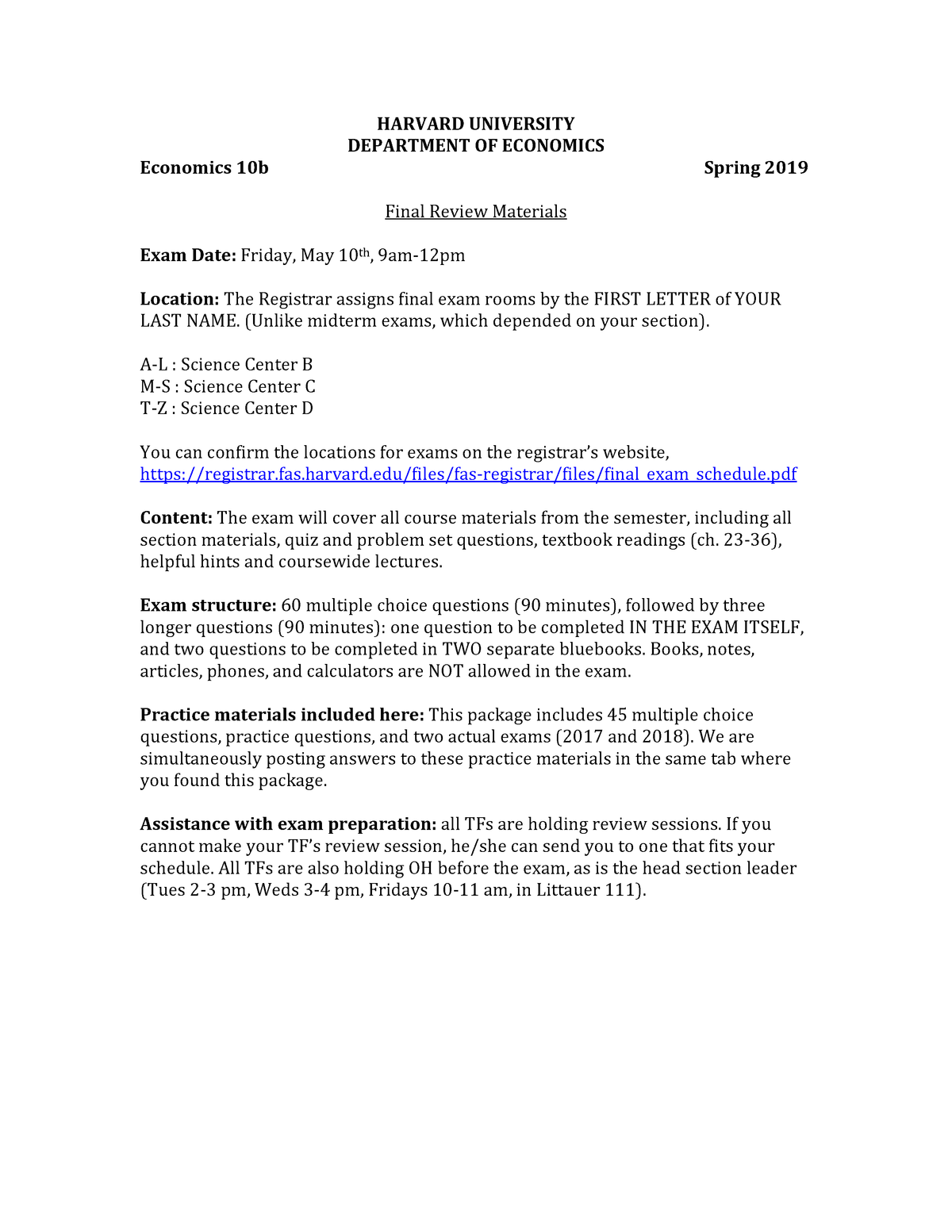 Final exam May 10, questions - ECON Economics - Harvard