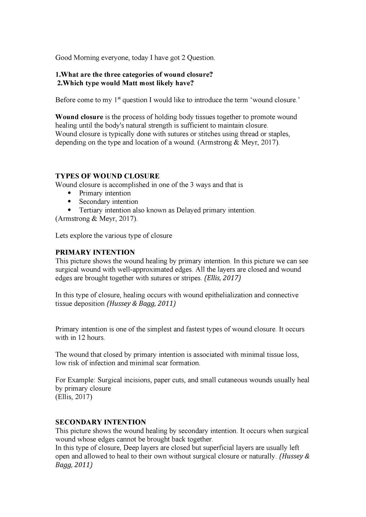 Assignment 2 Wound Closure - NRSG258 Acute Care Nursing I