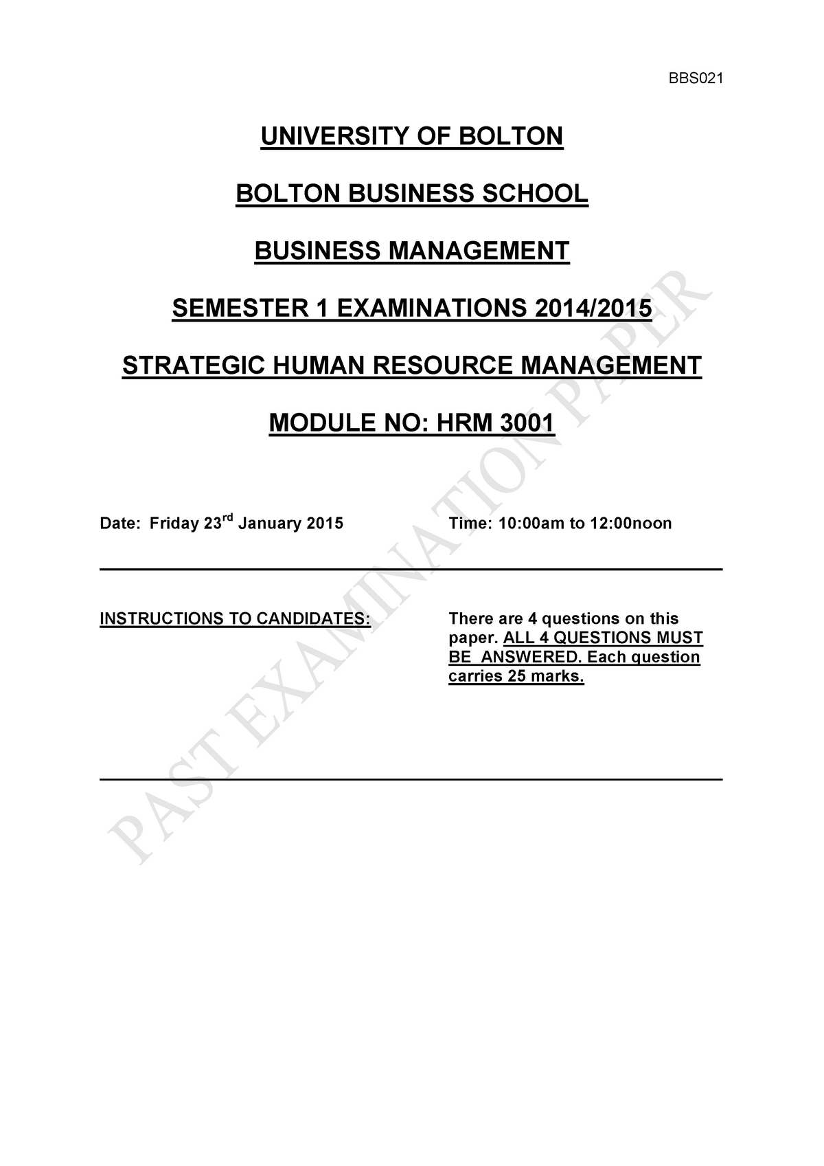 Exam 23 January 2015, questions - HRM3001 - Bolton - StuDocu