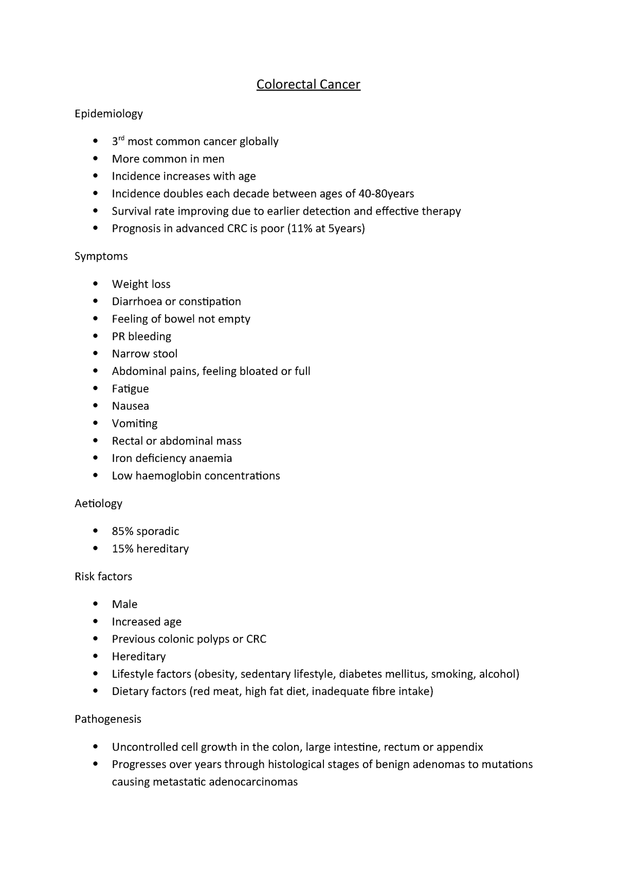Colorectal Cancer Lecture Notes 12 Mrs211 Csu Studocu