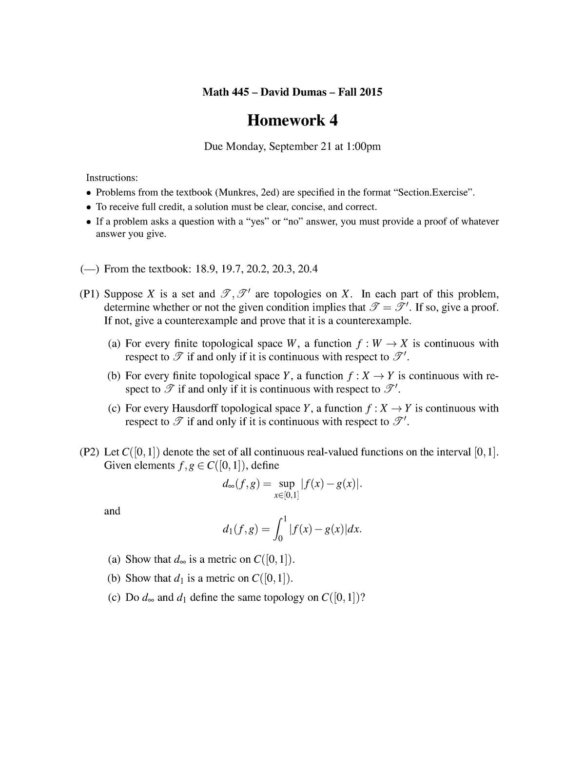 Math 445 - homework 4 - MATH 445 Introduction To Topology I