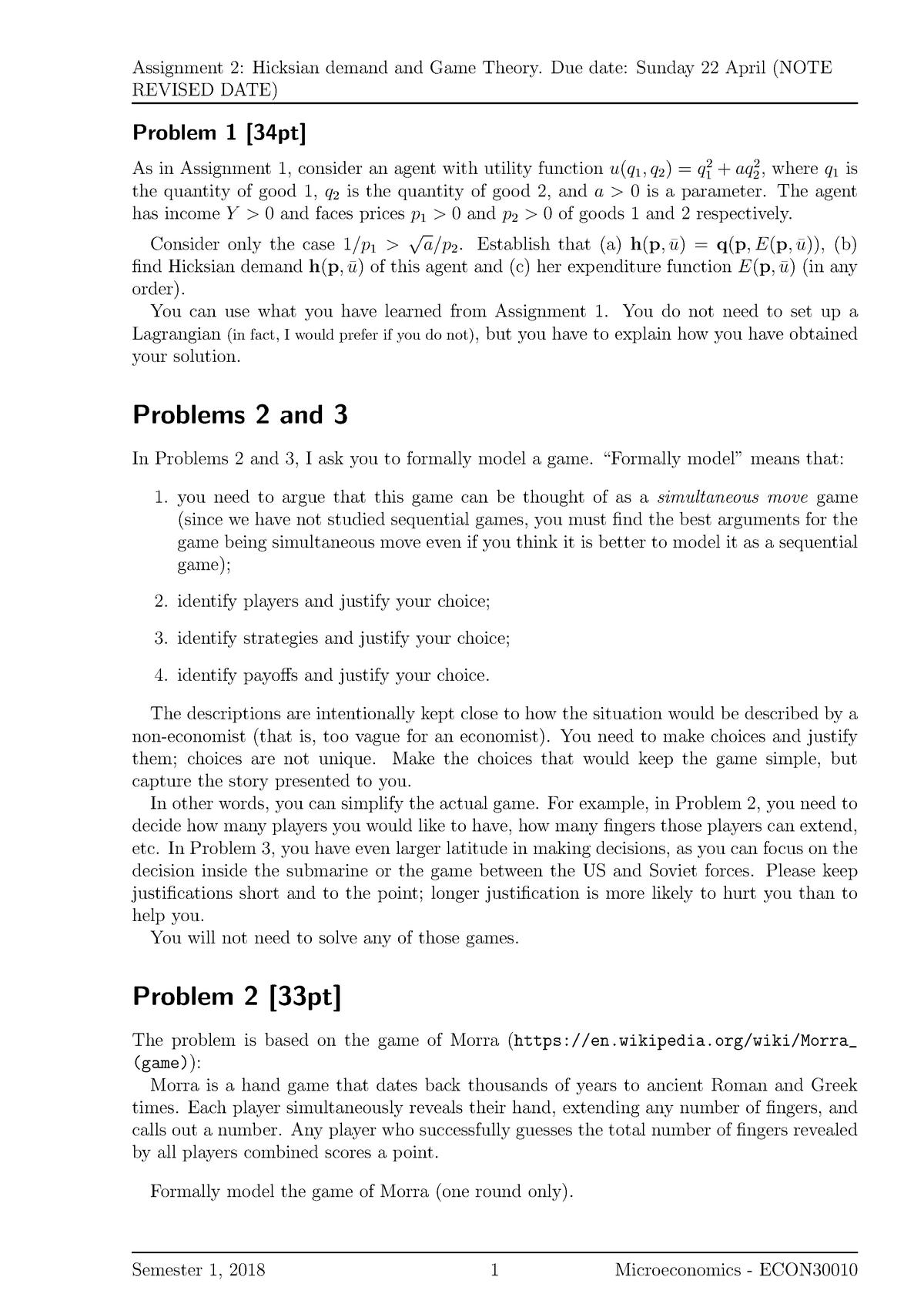 Assignment 2 - ECON30010: Microeconomics - StuDocu