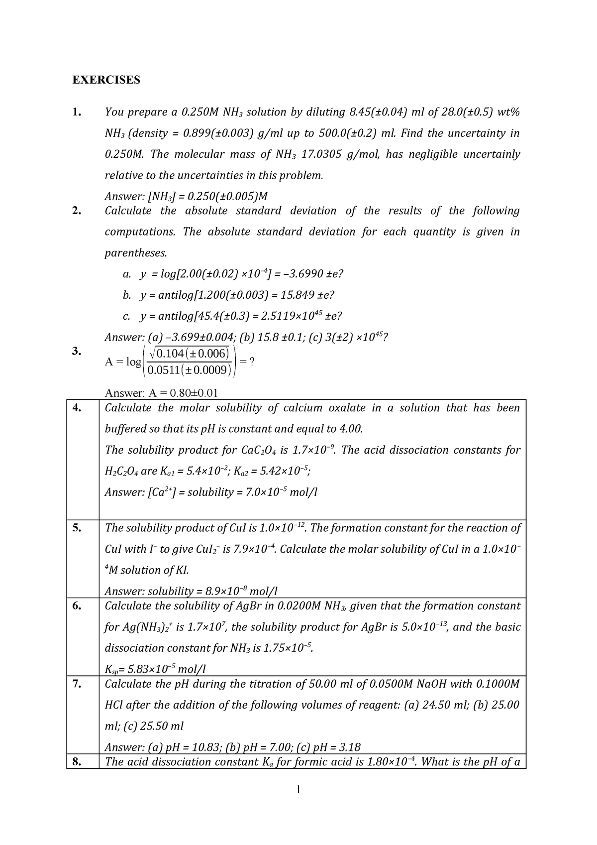 Exercises for analytical chemistry about titration - CHEM 217