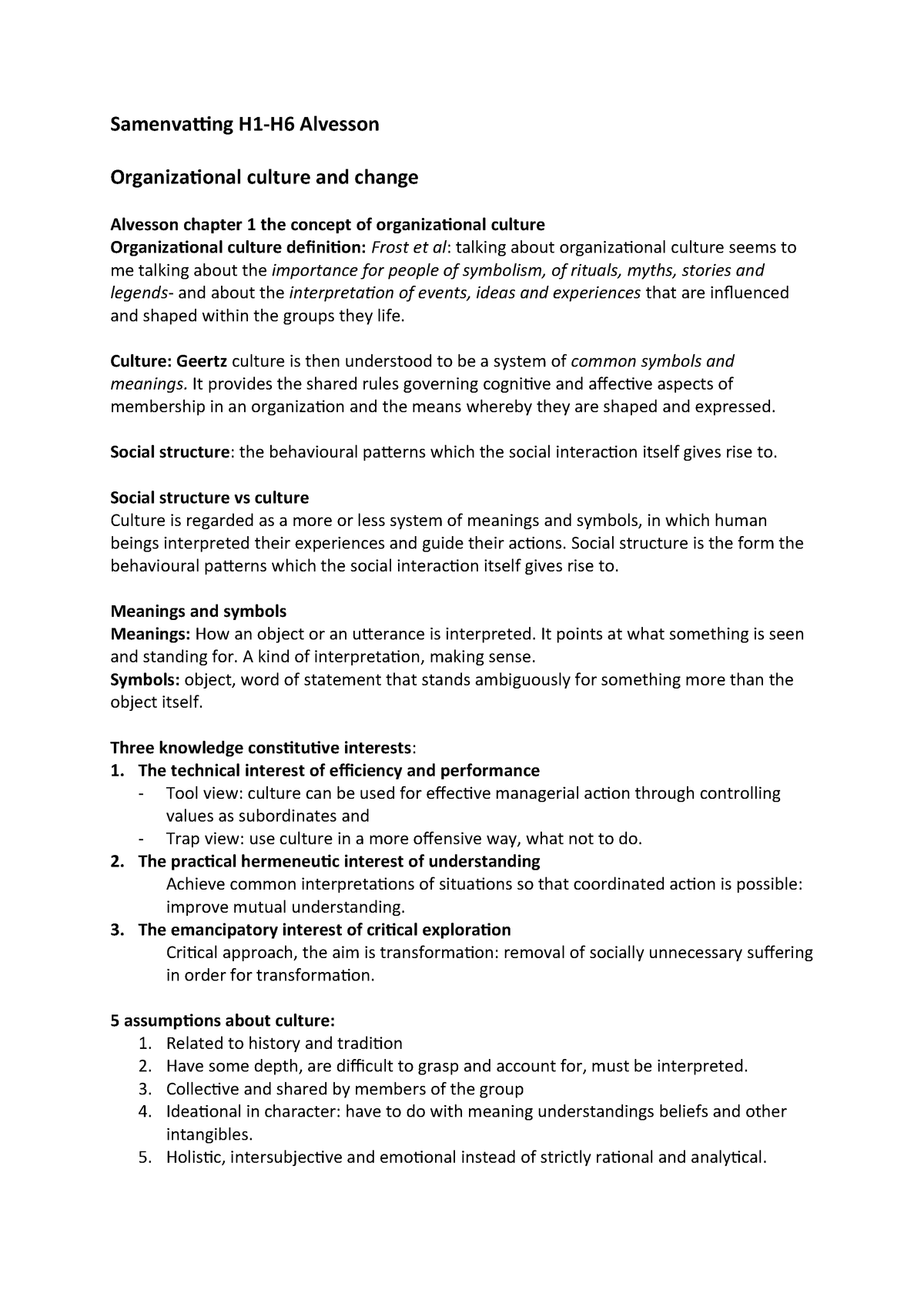 Samenvatting Alvesson - S_OCC - VU - StudeerSnel