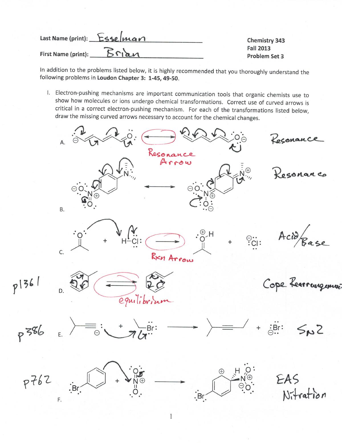 Problem Set 3 Fall 2014-Key - CHEM 343: Introductory Organic