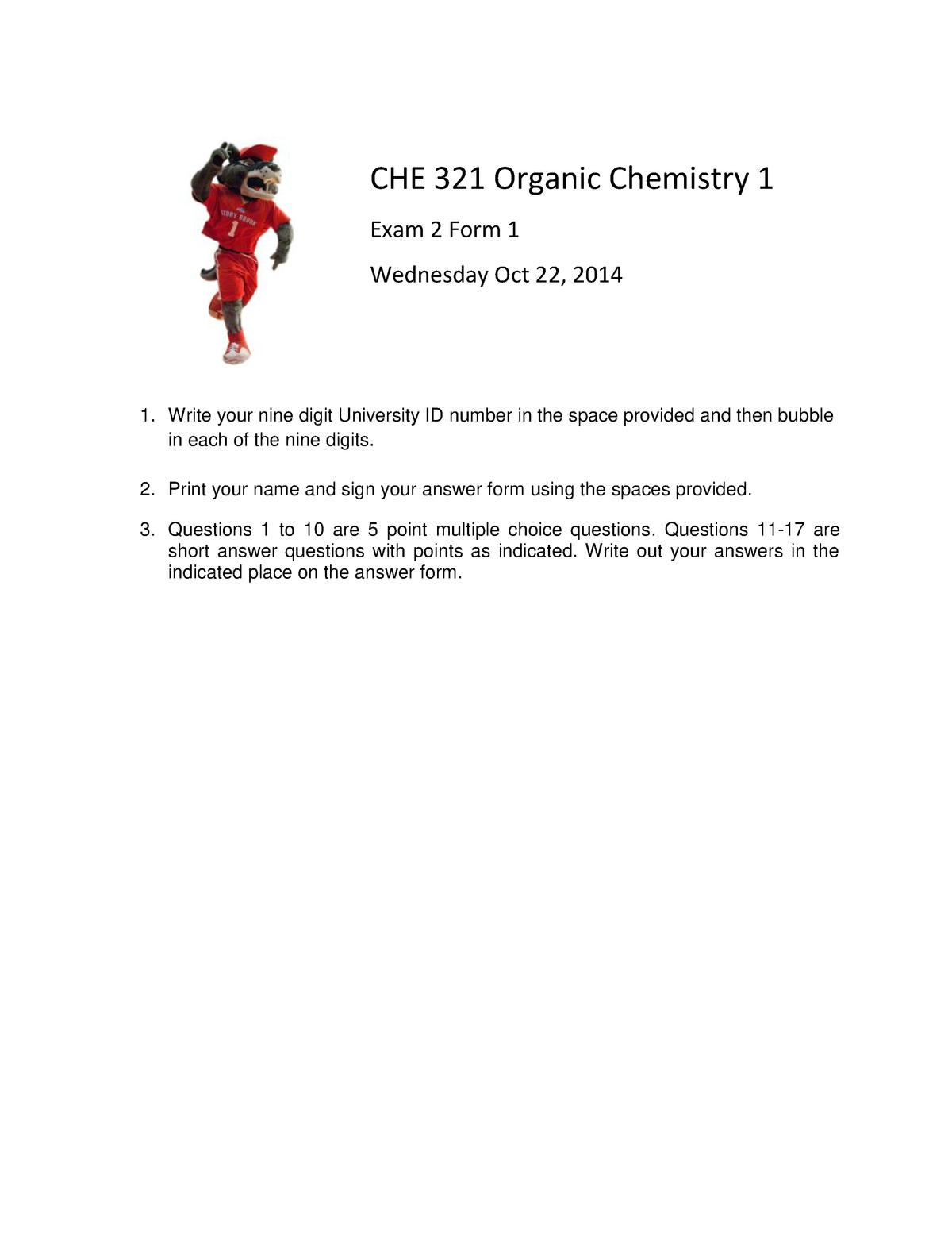 Exam 2014 - CHE 321: Organic Chemistry I - StuDocu