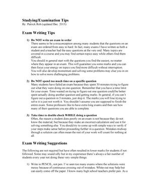 Exam Tips - Some helpful tips on writing these exams - StuDocu