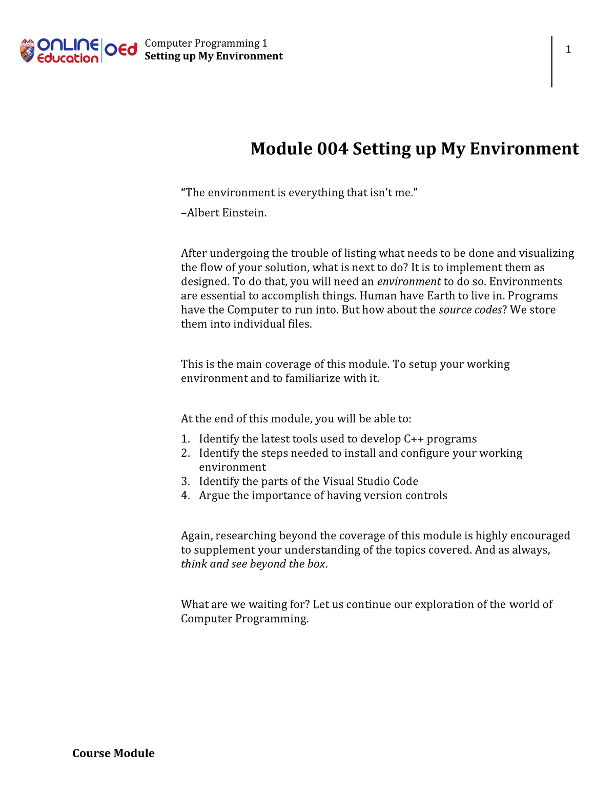 Module 004 Setting up My Environment - Bachelor of Science in
