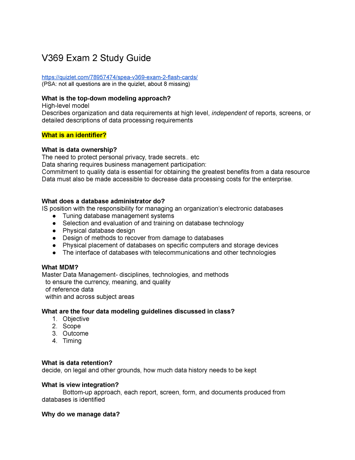 V369exam2study Guide Spea V369 Managing Information Tech Studocu