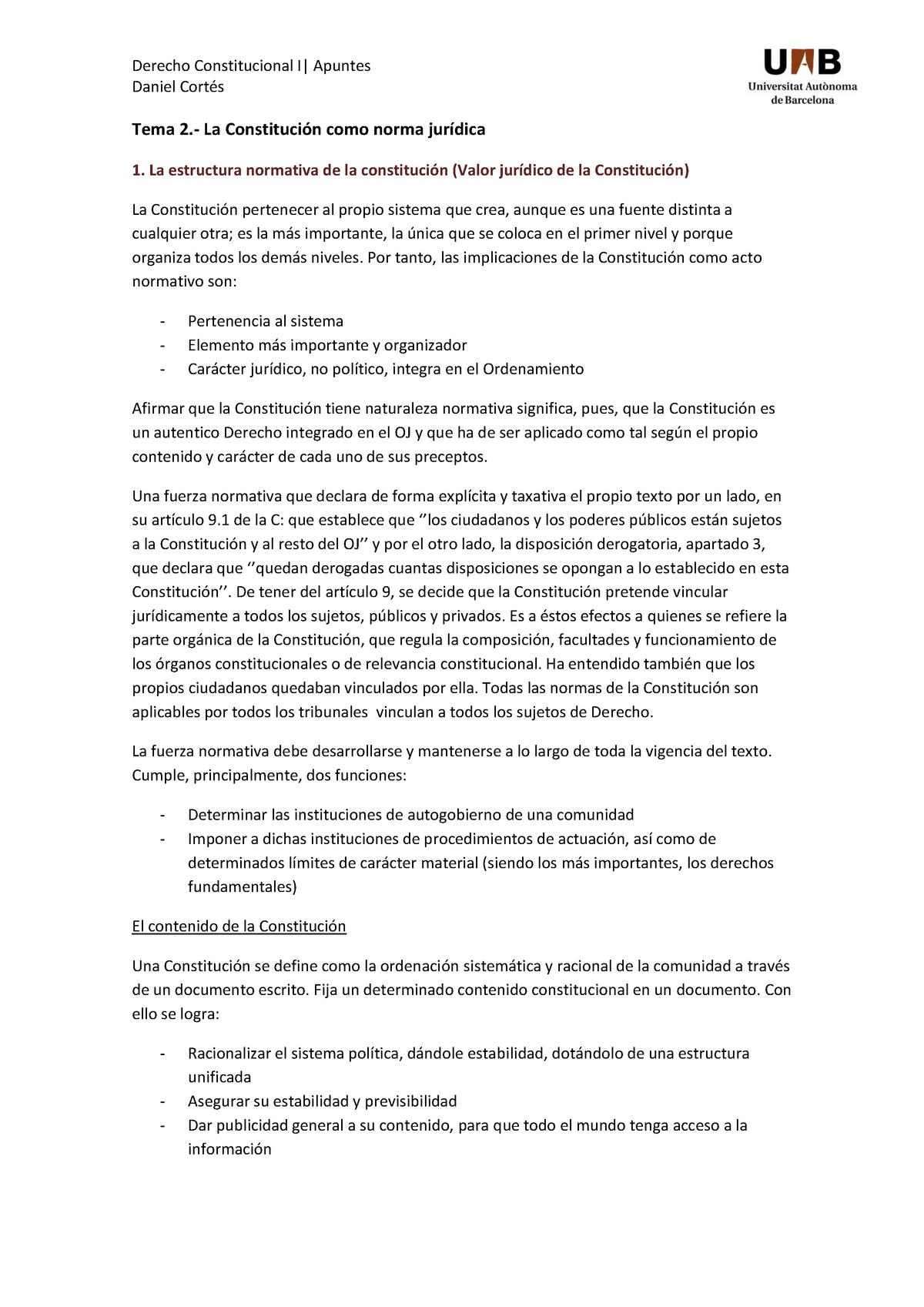 Tema 2 La Constitución Como Norma Jurídica Uab Studocu