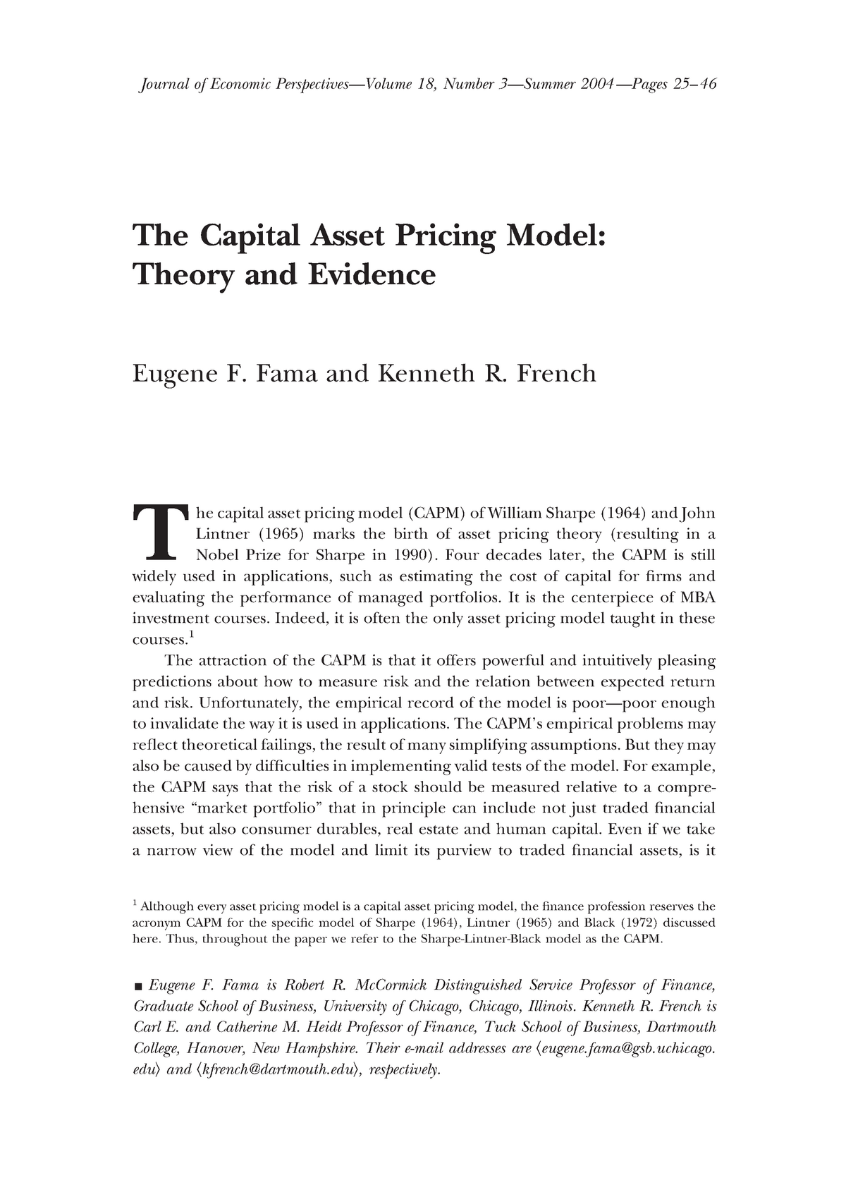 Article The Capital Asset Pricing Model: Theory and Evidence