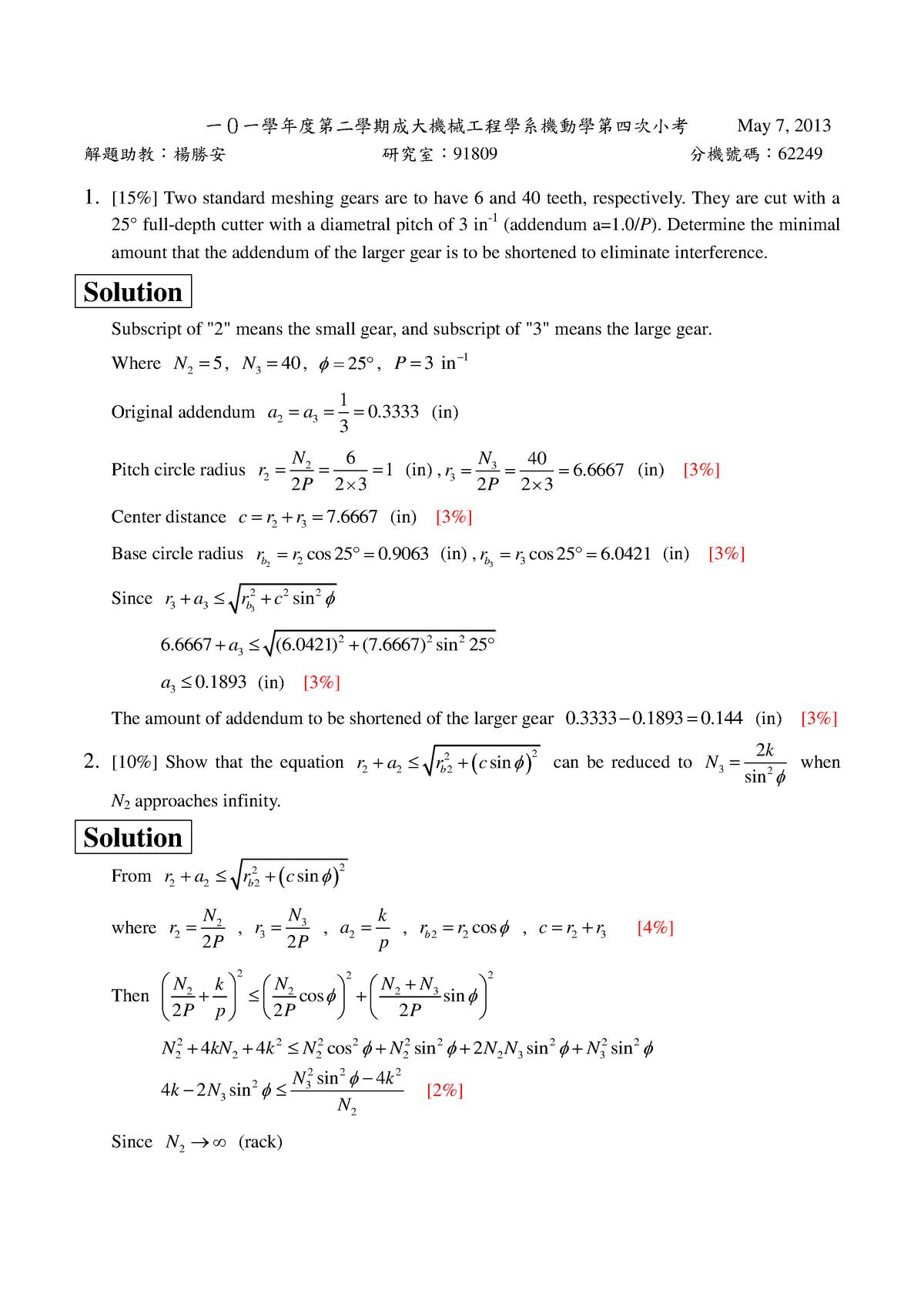 Exam 2013, questions and answers - Mechanism 2 E123020 - StuDocu