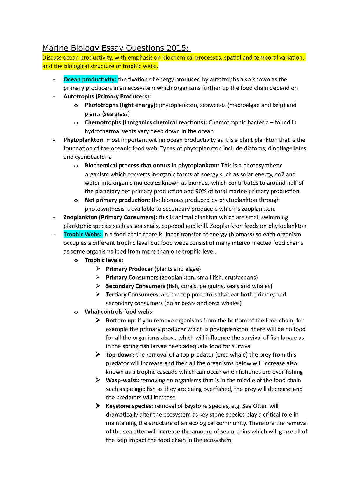 Marine biology essays professional thesis statement proofreading website uk