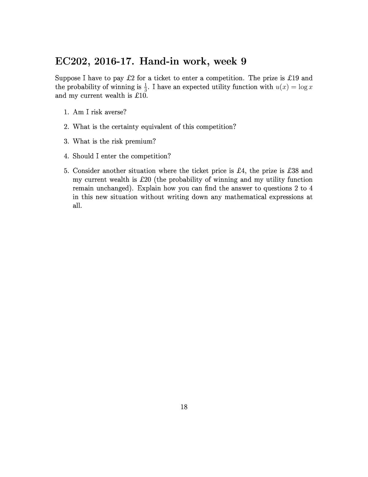 EC202 2016-2017 Assignment Week 9 + Solutions - EC202