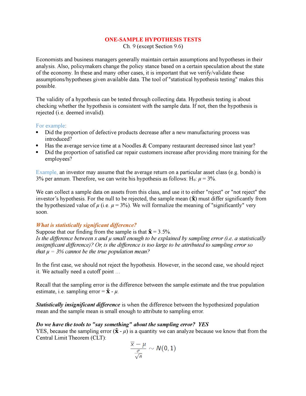 Econ 2081- Lecture 11 & 12 & 13 - One Sample Hypothesis - StuDocu