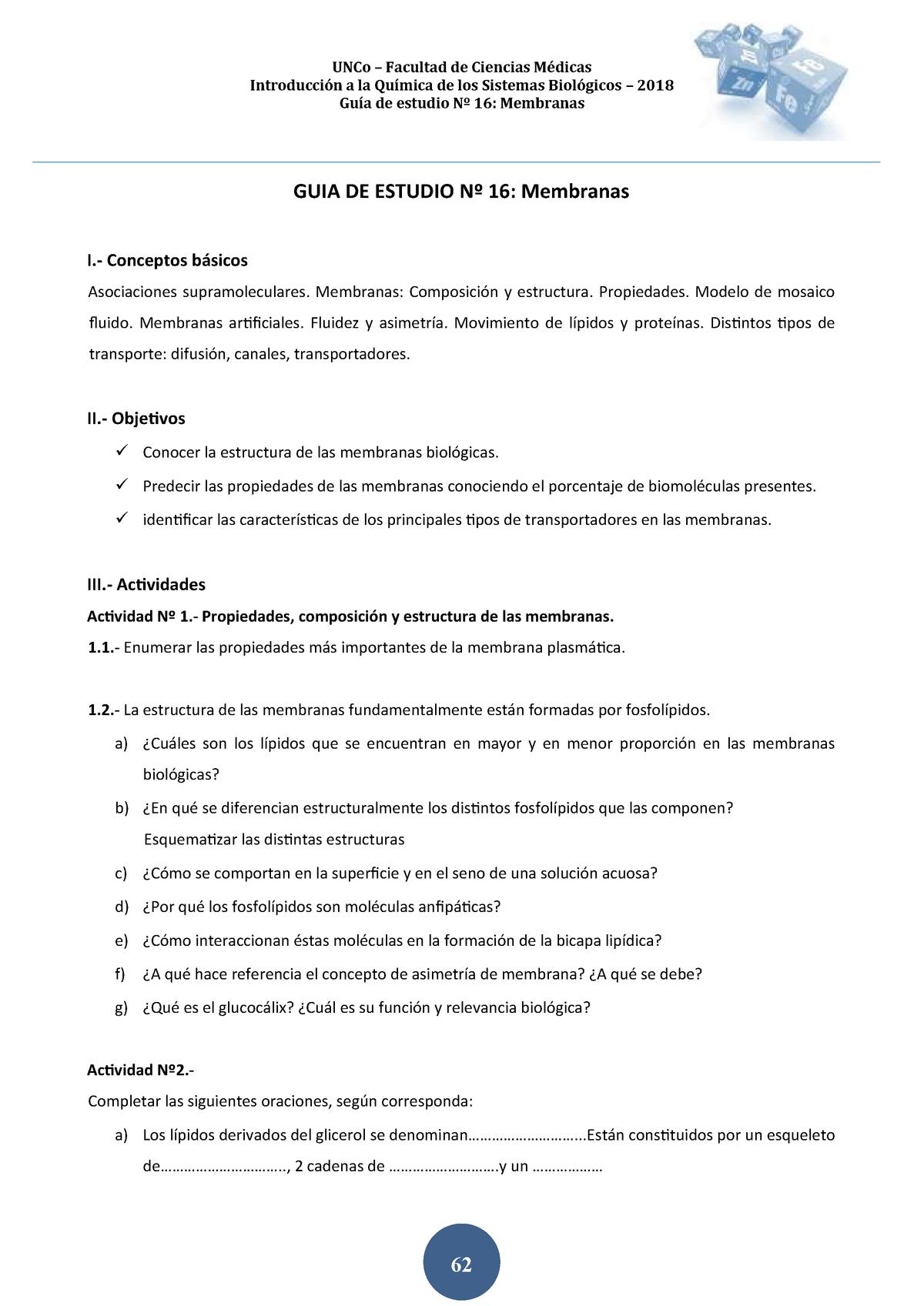 2018 Guia De Estudio N 16 Membranas Uncoma Studocu