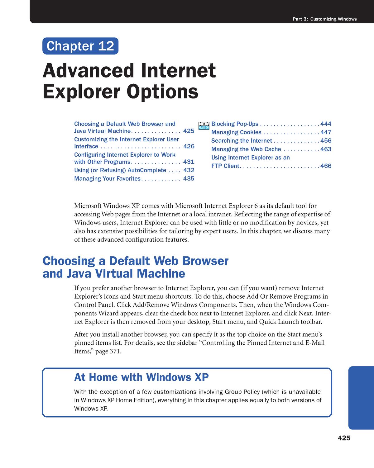 Chapter 12 - Advanced Internet Explorer Options - Principles of