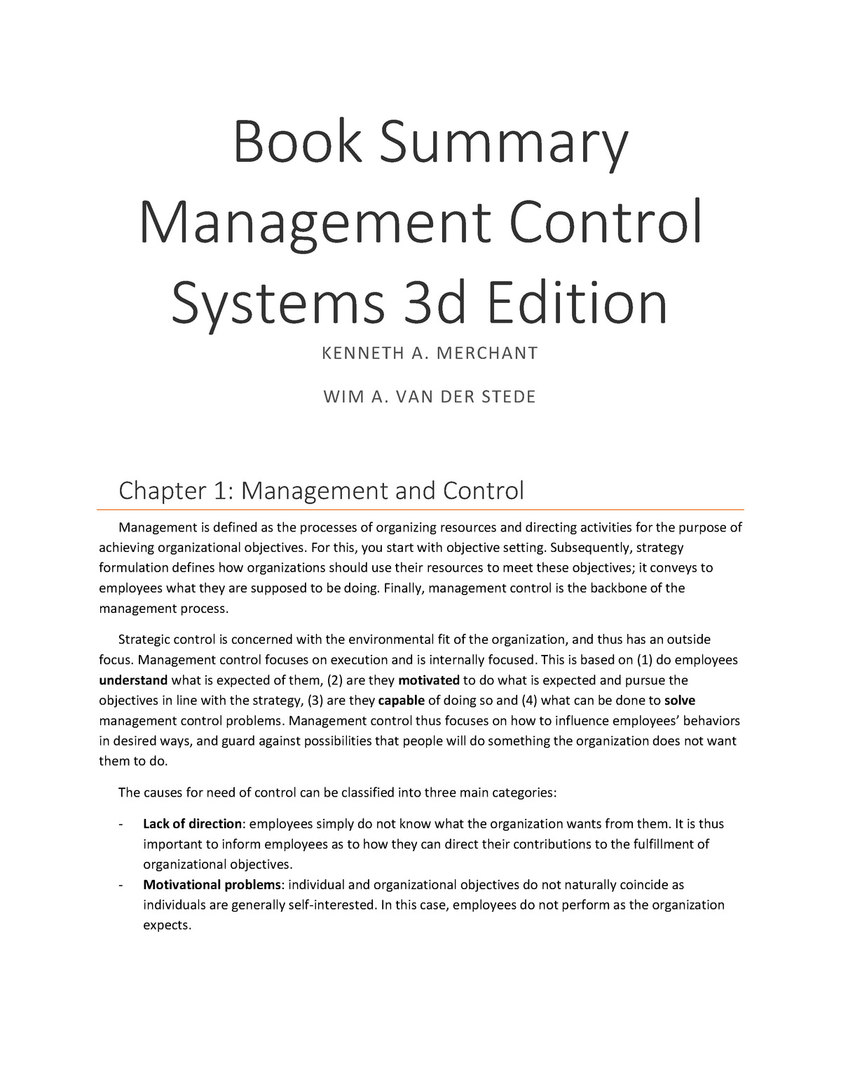 Book Summary Management Control Systems 3d Edition - 401391