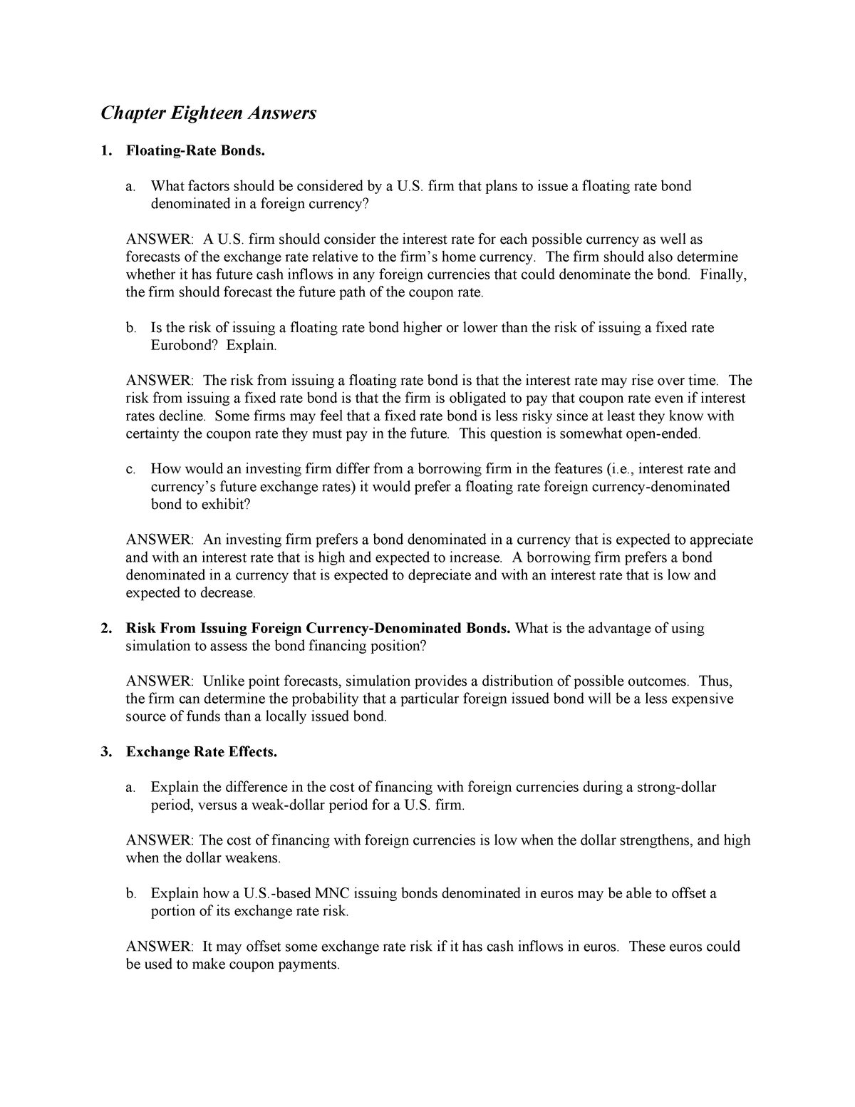 Chapter 18 - Solution manual International Financial Management