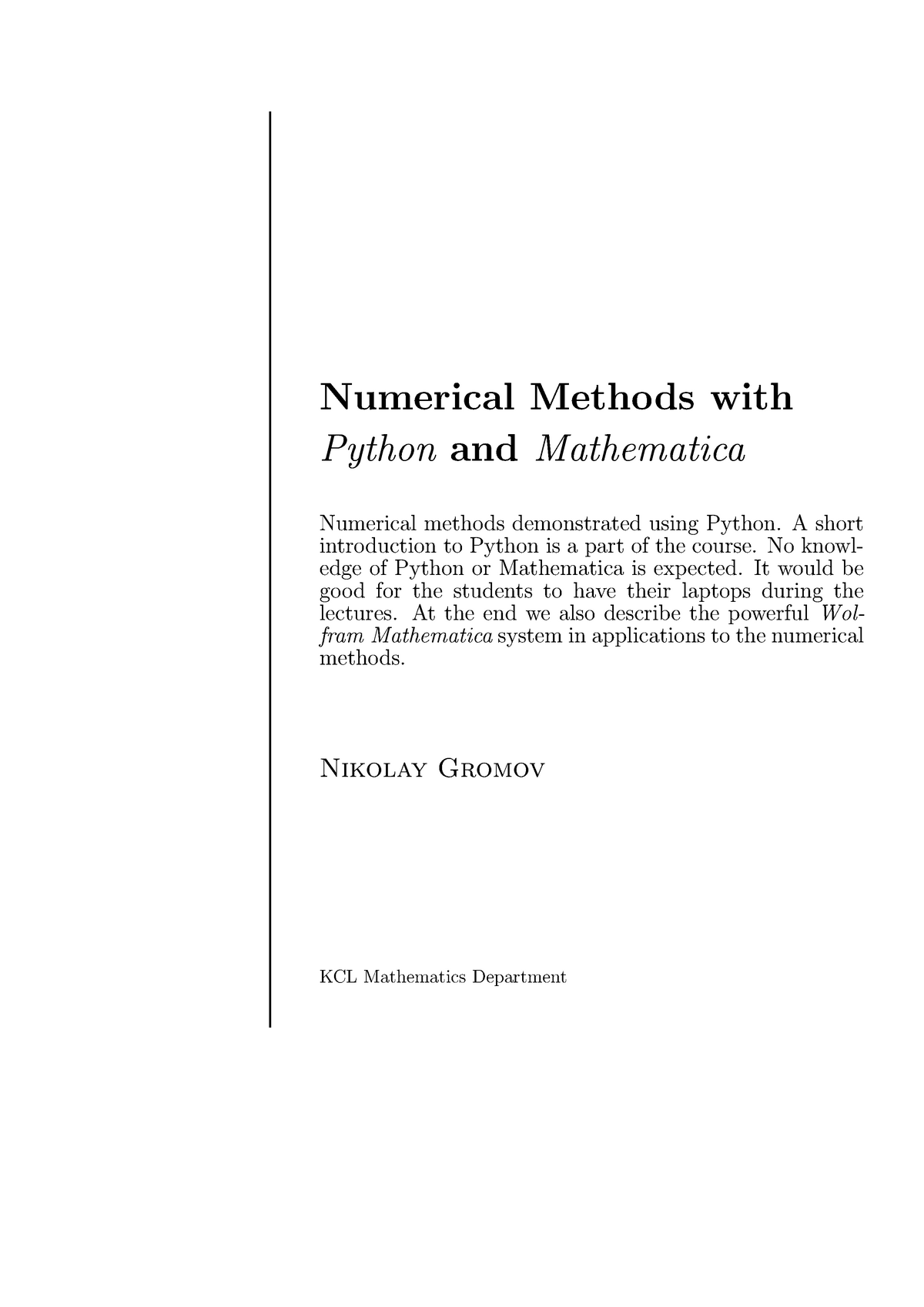 Numerical Methods - Lecture notes - LECTURES - Lecture notes