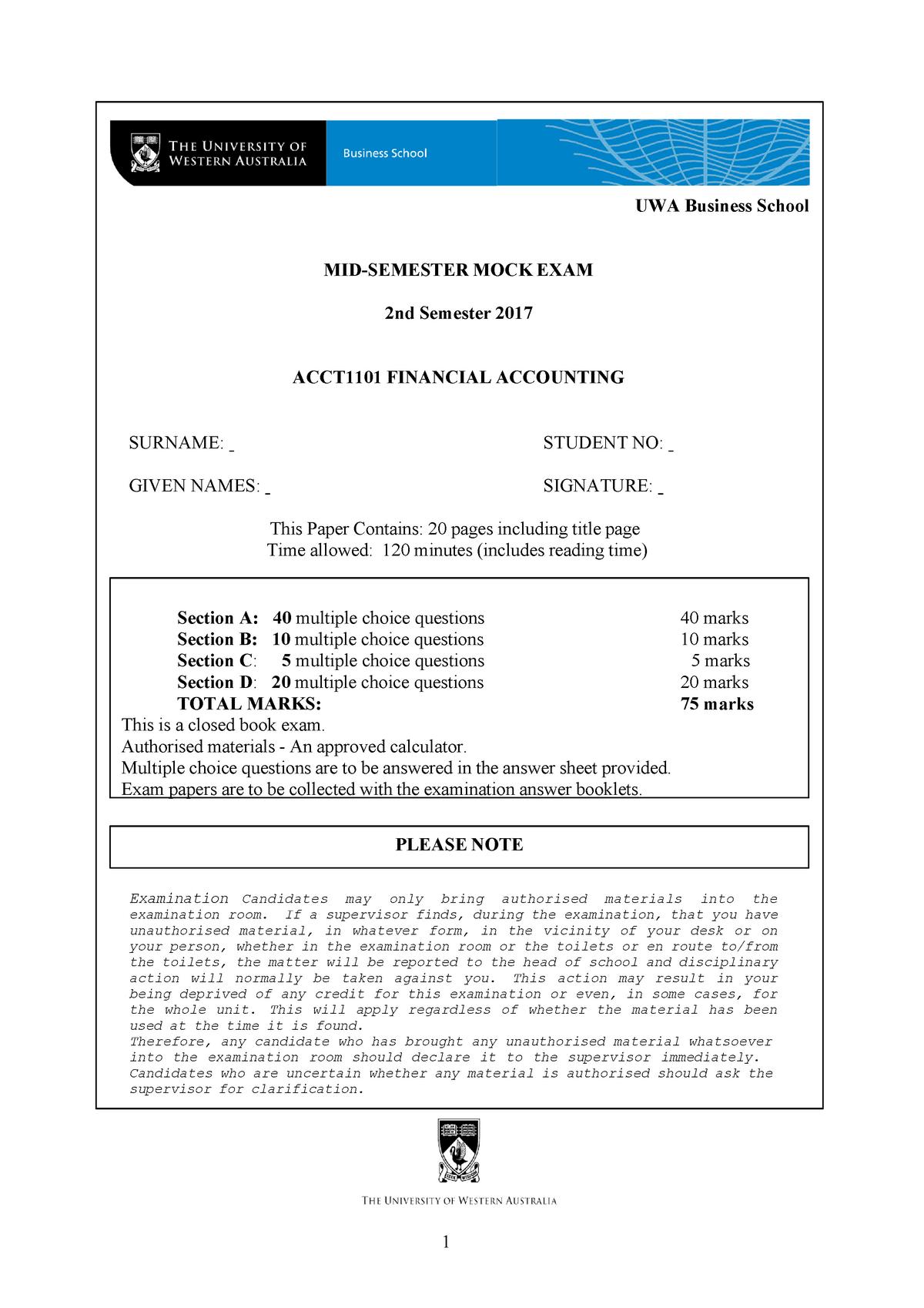 Sample/practice exam 2017, questions - ACCT1101 - UWA - StuDocu