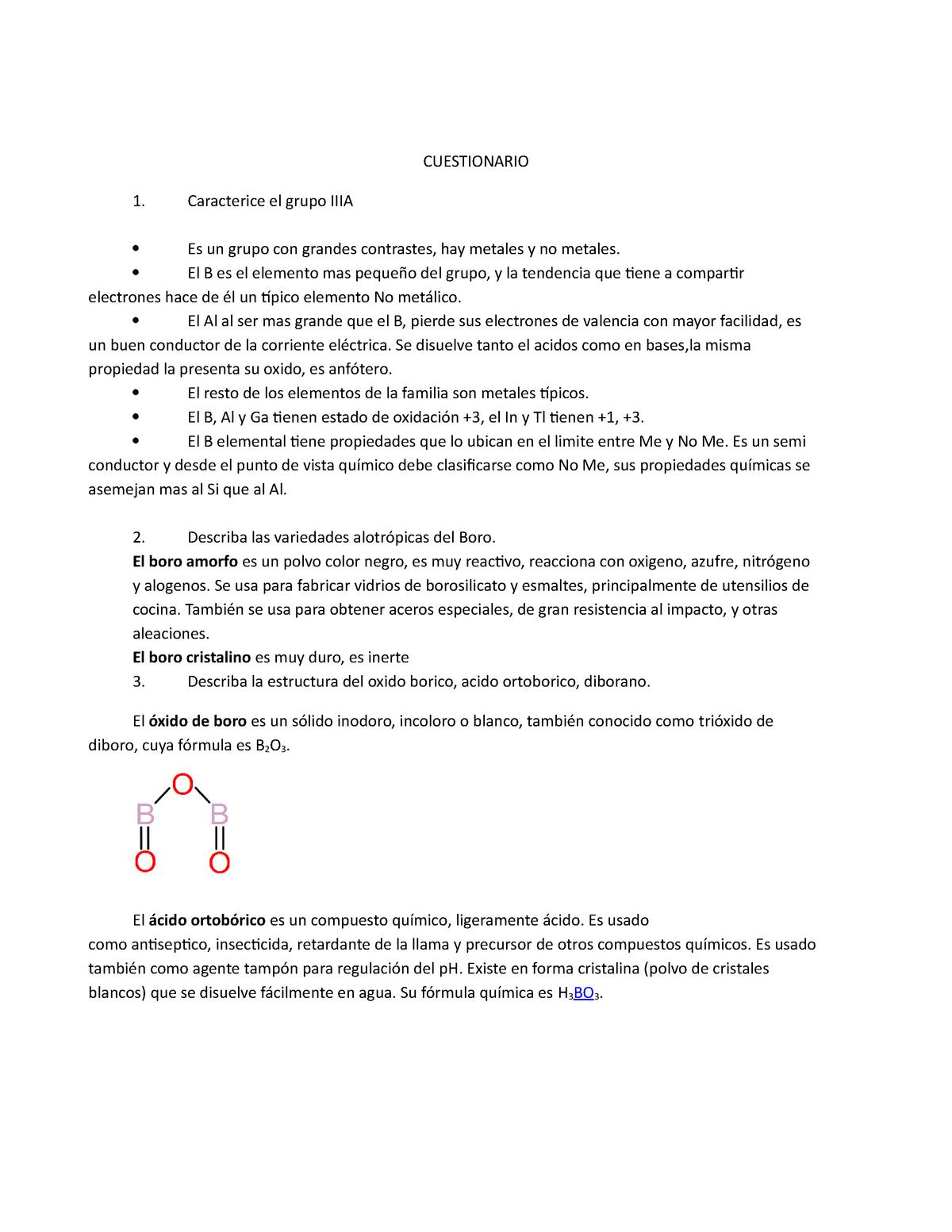 Cuestionario Boro Y Aluminio Quimica Inorganica Unsa