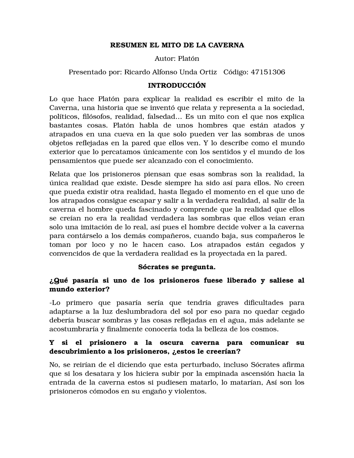 Resumen El Mito De La Caverna Español Studocu
