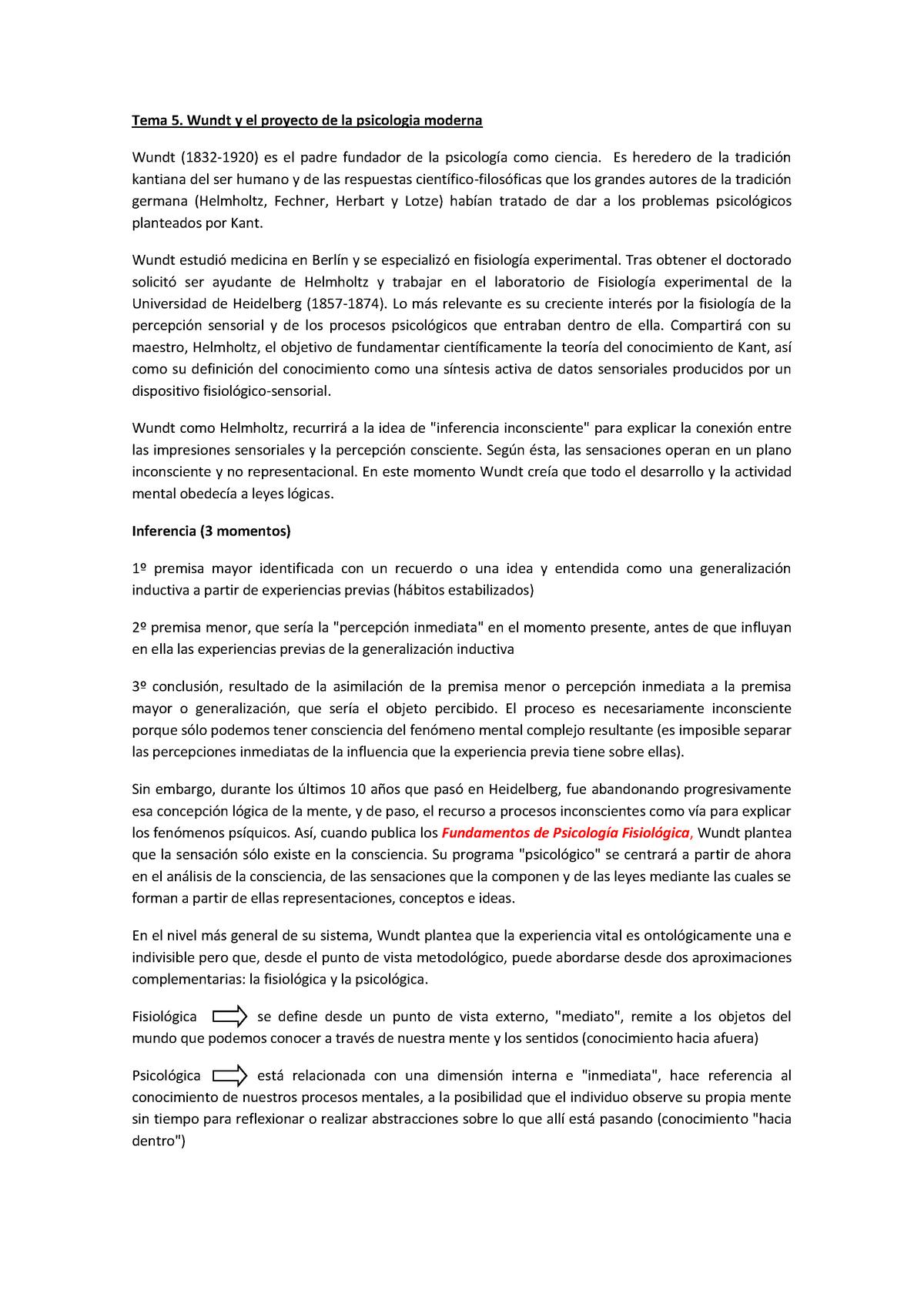 Tema 5 Wundt Y El Proyecto de La Psicología Moderna - 6201105: Historia de  la Psicología - StuDocu