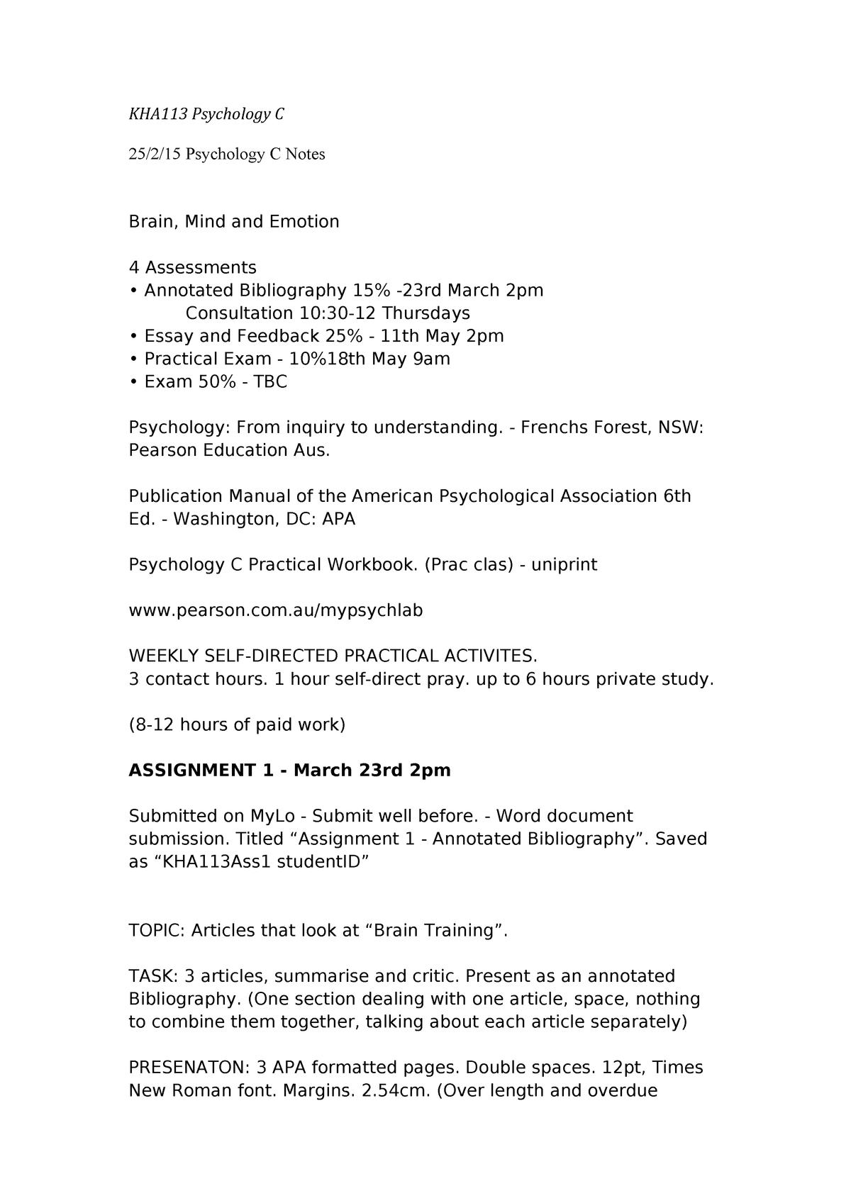 Psychology Sem 1 Notes - KHA113: Psychology C - StuDocu