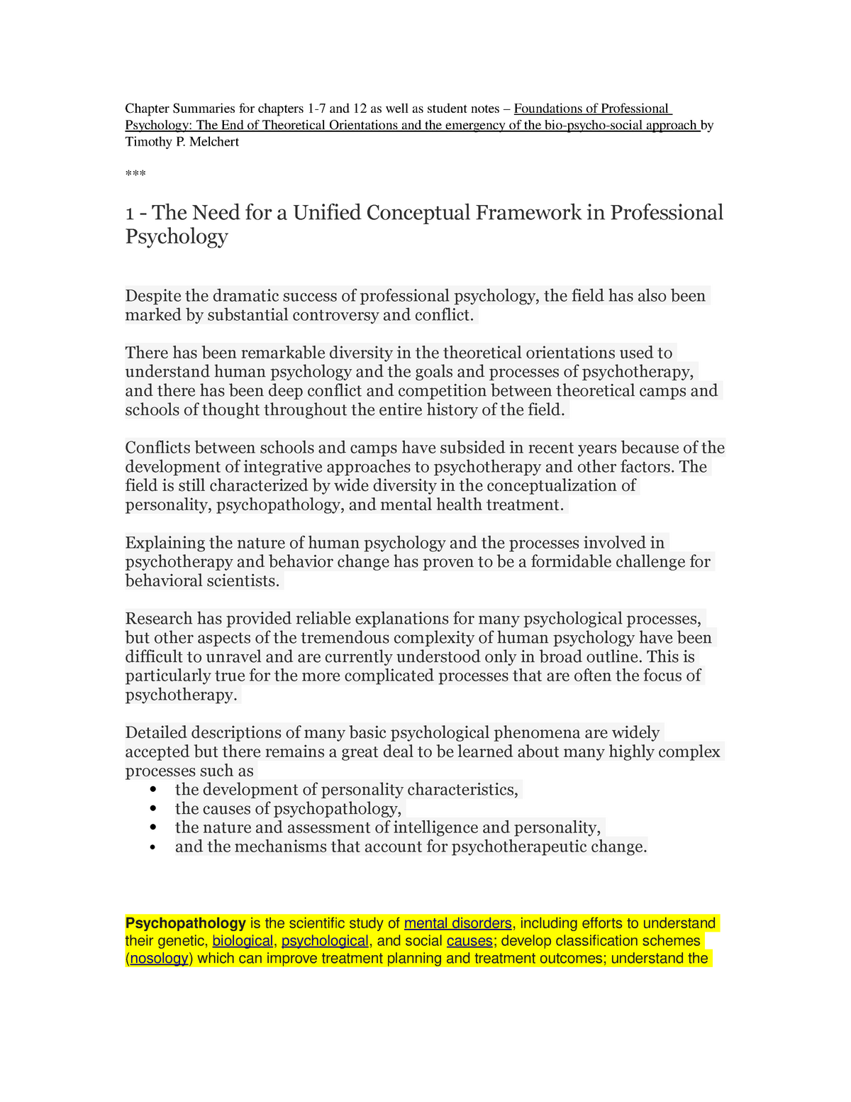Chapter Summaries and student notes – Foundations of Professional