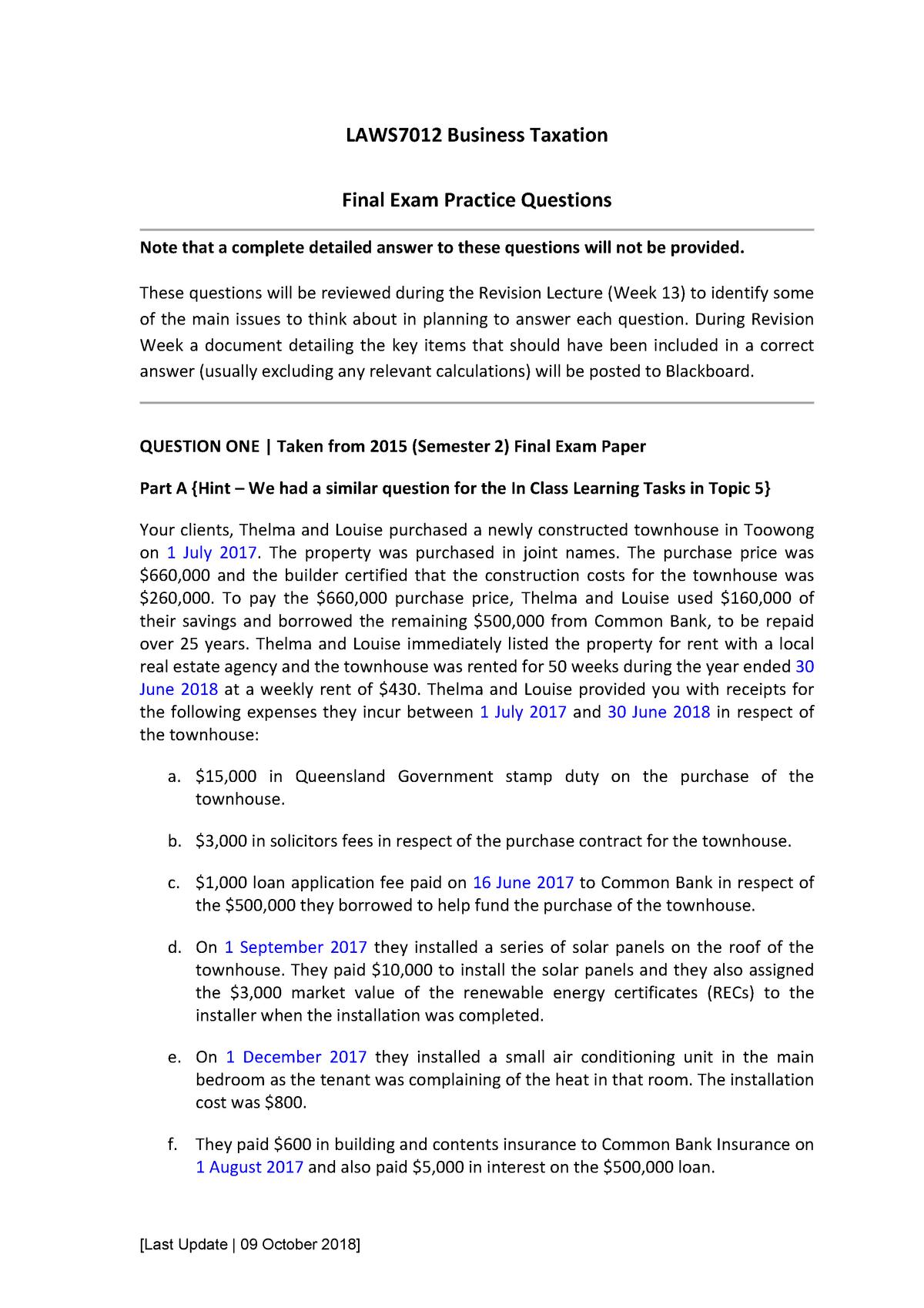 Exam 2018 - LAWS7012: Business Taxation - StuDocu