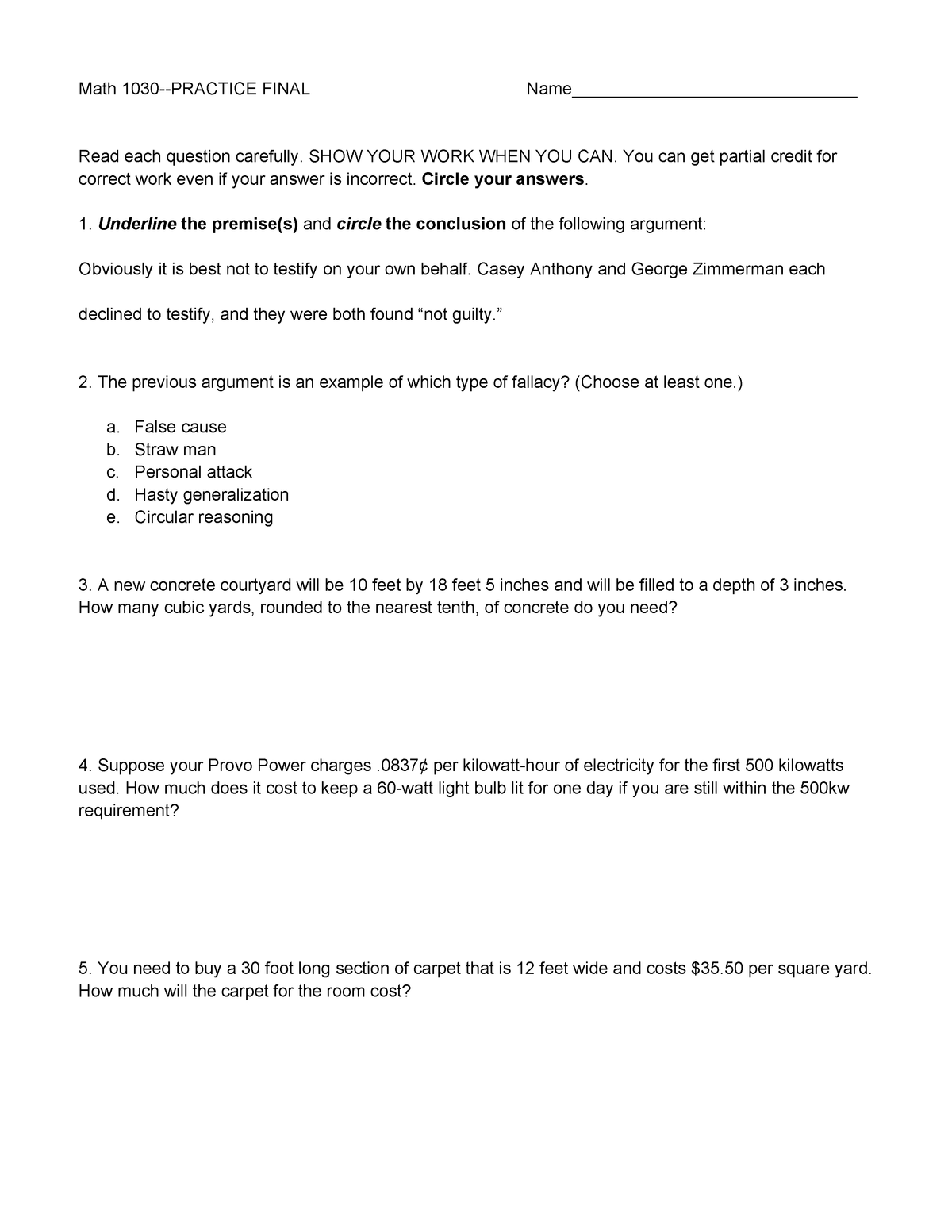 Exam 2018 - MAT 1030 (Cross-listed with: MAT 1035): Quantitative