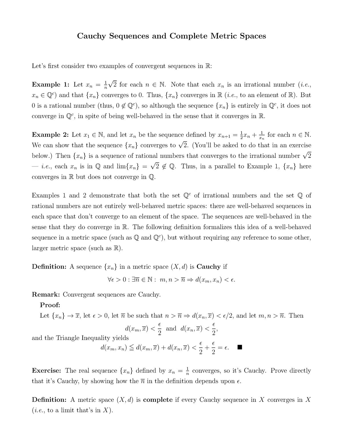 Lecture Notes Lecture 4 Complete Metric Spaces Econ 519 Studocu