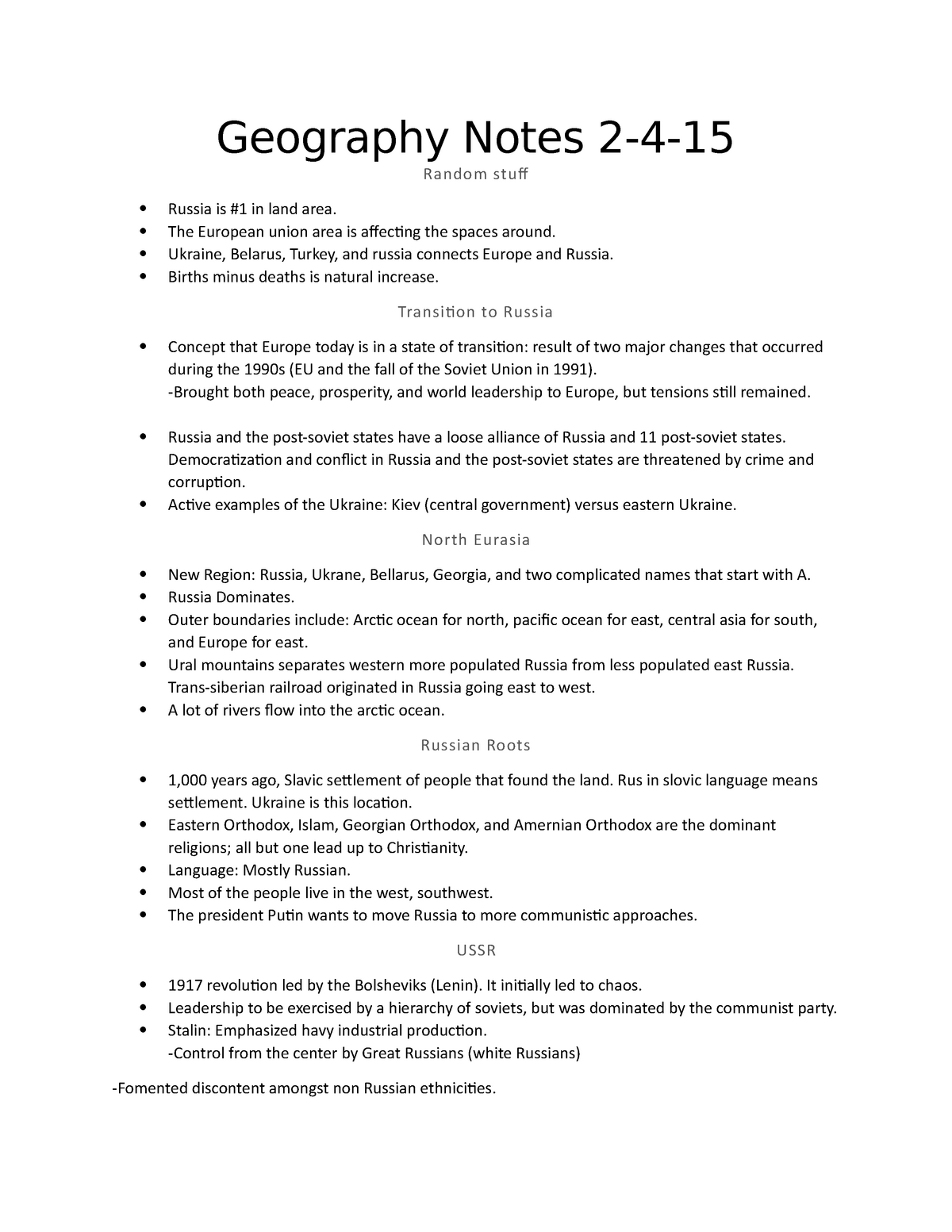 2-4-15 - Lecture notes 3 - GEOG 1101: World Regional