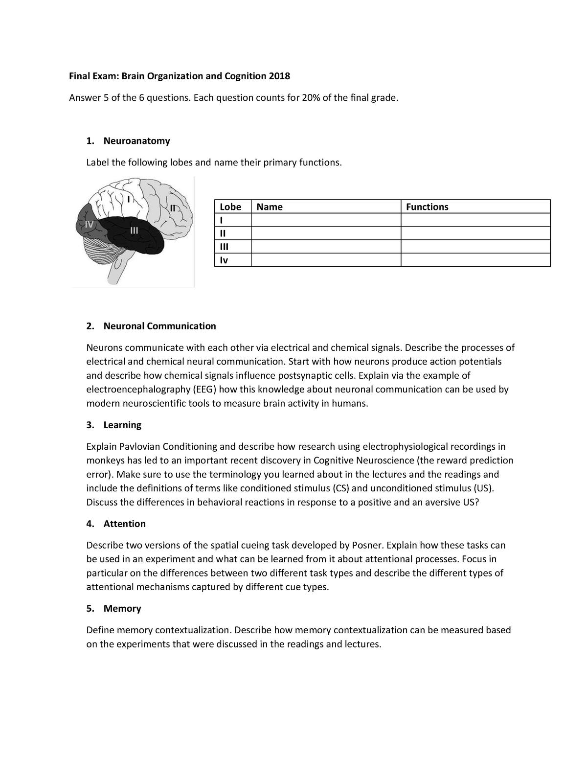 Tentamen 2018 - 6414M0311Y: Brain Organisation and Cognition for