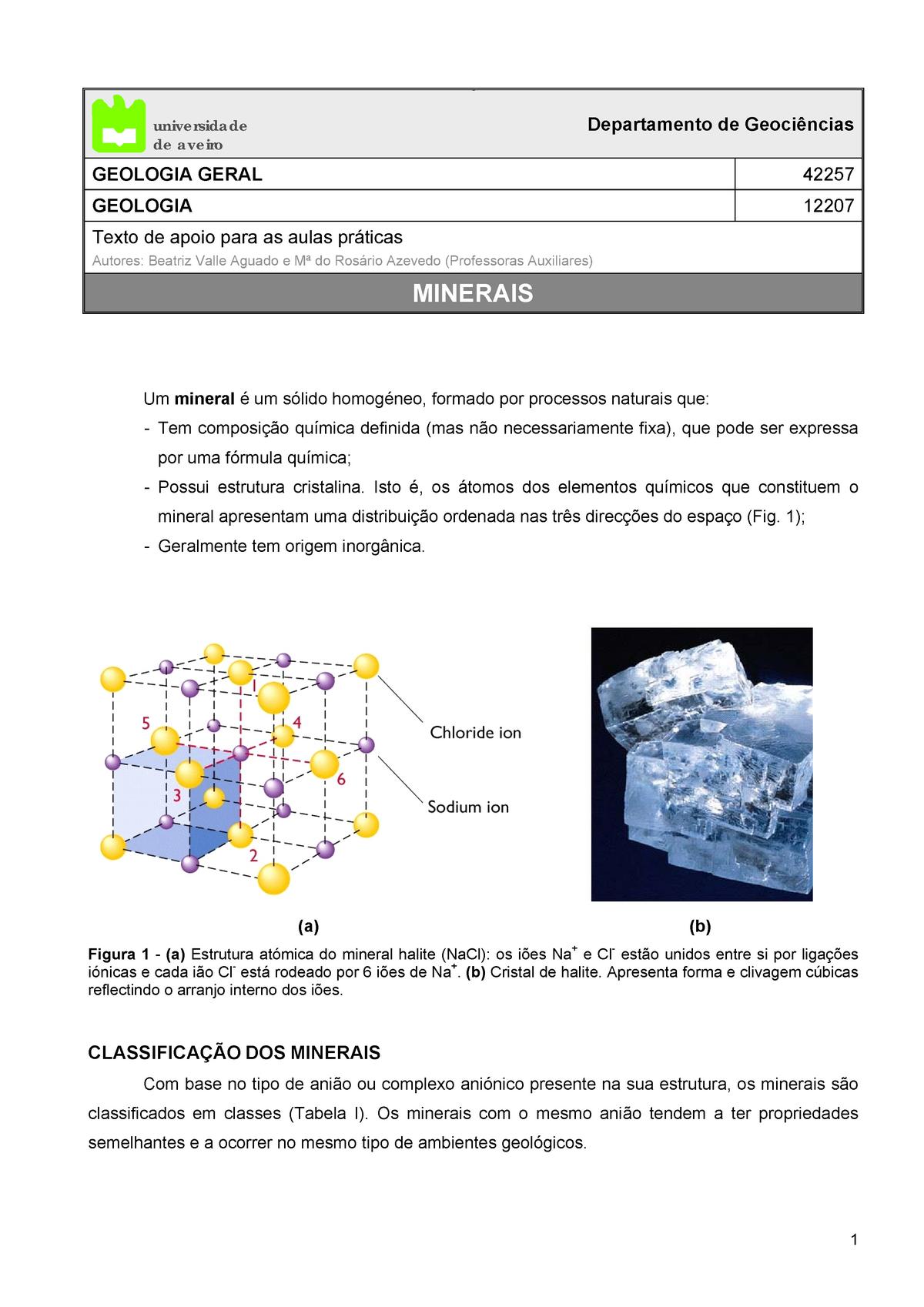 Fundamentos De Geologia De Minerais Trabalho Pratico