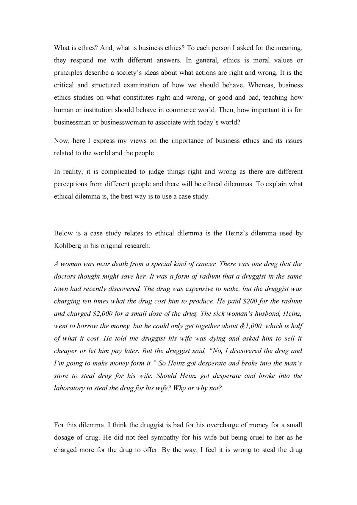 Reflective Essay - COMM101: Principles of Responsible Commerce - StuDocu