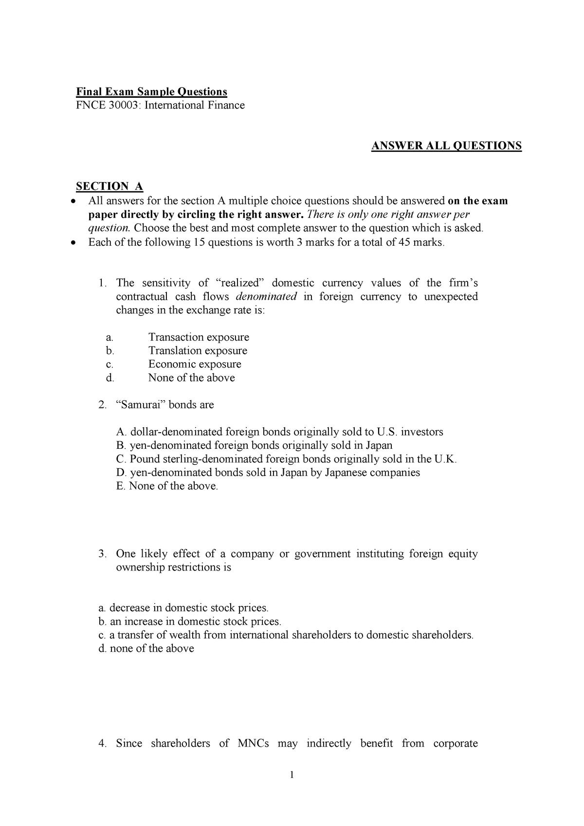 2019 FNCE30003 Sample Exam - FNCE30003: International Finance - StuDocu