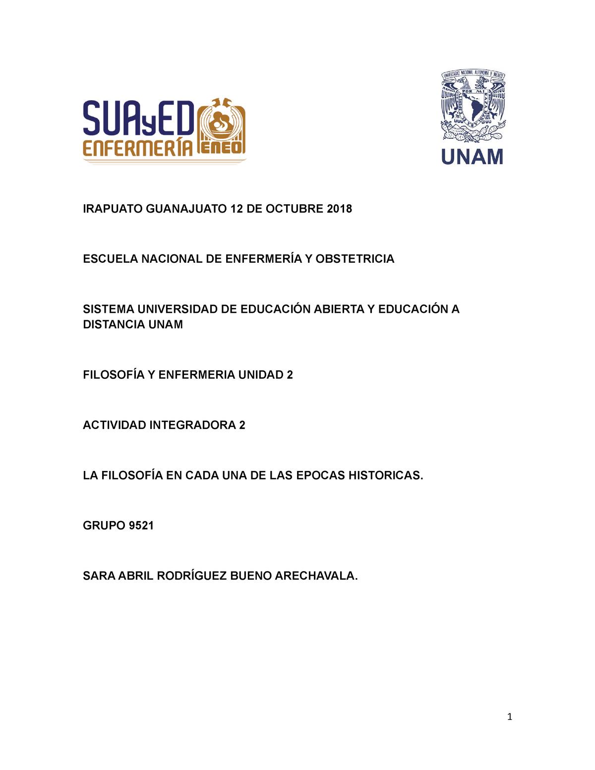 actividad integradora 2 filosofía en enfermería - Enf1112 - StuDocu