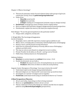 Summary - Chapter 1--17 - SOC1021E Introduction to Sociology