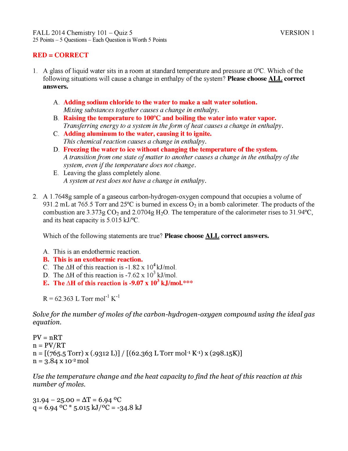 Quiz 5 Key - quiz 5 answers - CHEM 101: General Chemistry