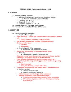 Menu 16 Jan 19 - Lecture notes 4 - ECON 2030 - LSU - StuDocu