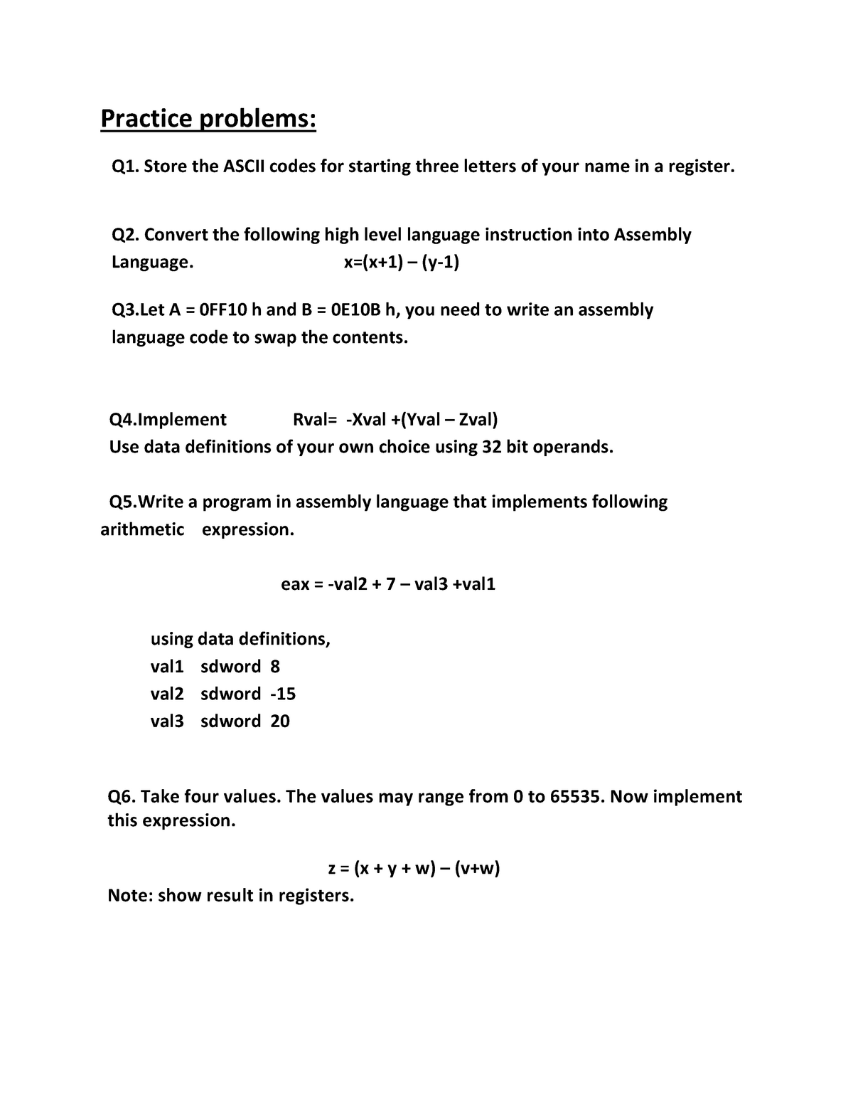 Practice problem Lab Session 03 - 213: Assembly Language
