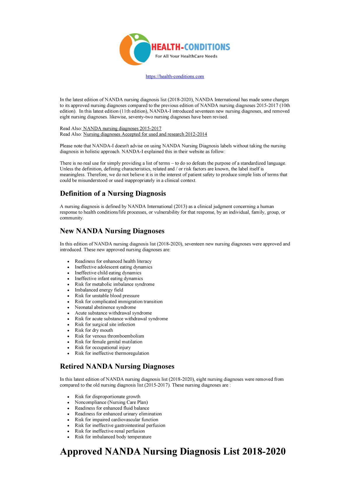 Nanda Nursing Diagnosis List 2018 2020 Warning Tt Undefined Function 22 Https Studocu