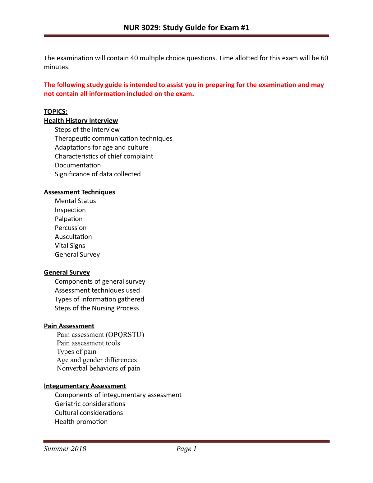 Study Guide For Exam 1 Summer 2018 Nur 3029 Foundations Of Health